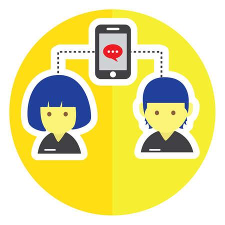 personas comunicandose: dos personas que se comunican con smartphone Vectores