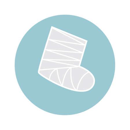 plaster leg cast: leg cast Illustration
