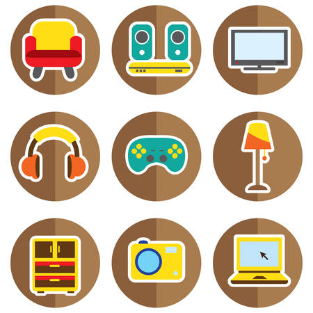 home appliances: set of home appliances and furniture icons Illustration