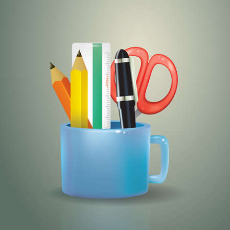 office stationery: cup filled with office stationery