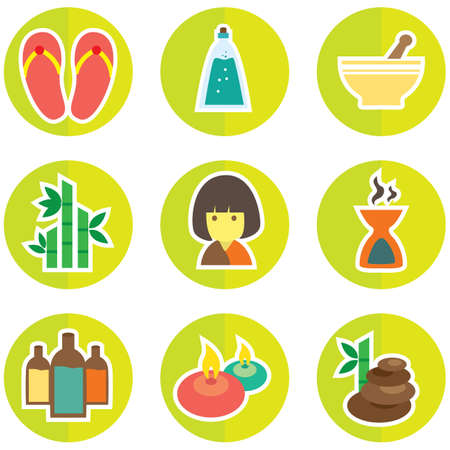 bamboo therapy: set of spa icons