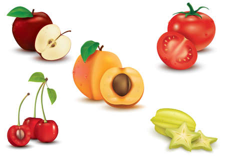 cherry tomato: set of fruit and vegetable