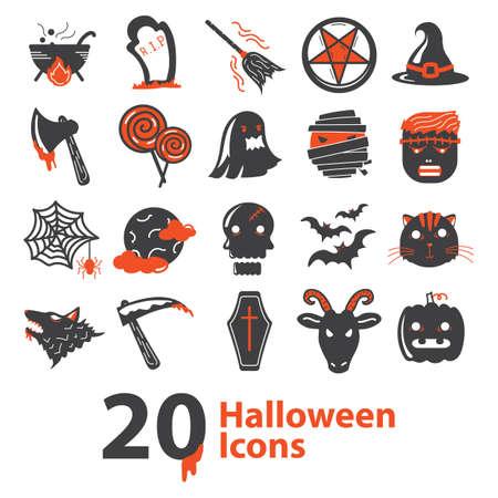 set of halloween icons Illusztráció