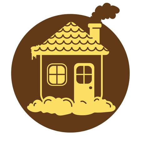 chimney: house with smoking chimney Illustration