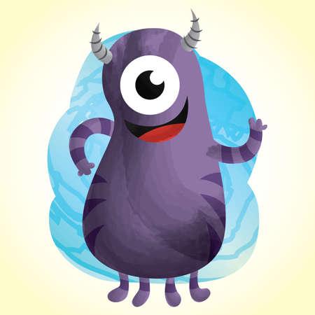 one eyed: cute monster cartoon
