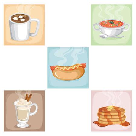 food: set of food items Illustration
