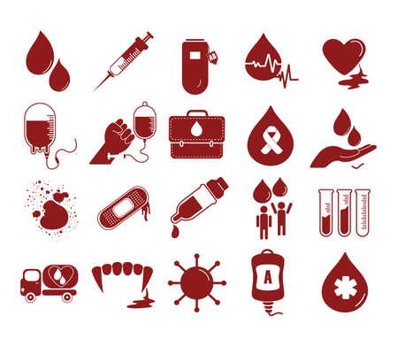 Colección de los iconos de transfusión de sangre