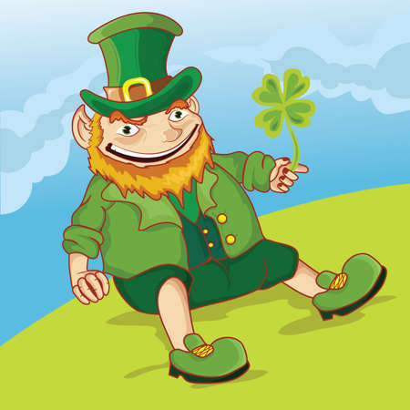 irish culture: st. patricks day leprechaun sitting on meadow