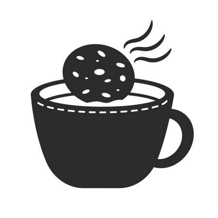 hot drink: hot drink with cookie