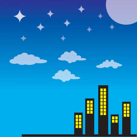 city background: urban city with night background Illustration