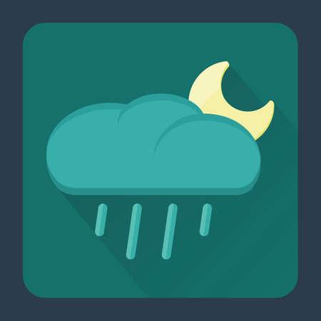 raining: raining cloud with moon