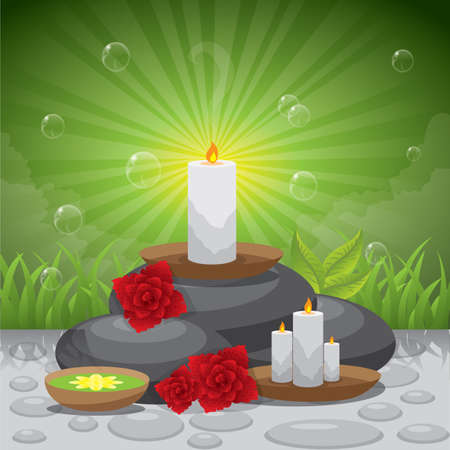 basalt: candle with basalt stones poster