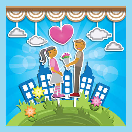 cut outs: boy proposing girl with flower bouquet