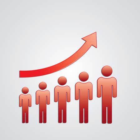 increasing: increasing arrow with people below Illustration