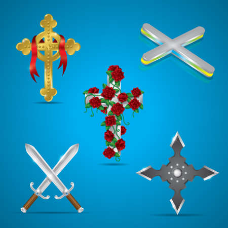 celtic symbol: set of cross icons