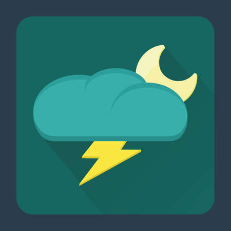 thundering: thundering cloud and moon Illustration