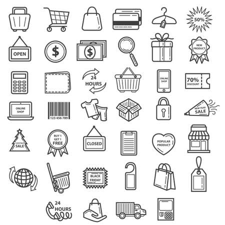 buy icon: collection of shopping icons Illustration
