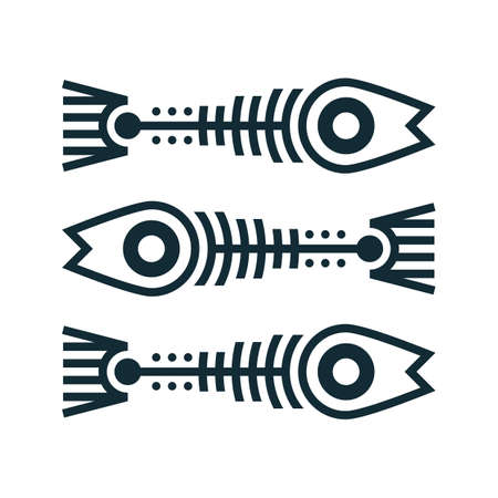 fish bone: fish bone tattoo Illustration