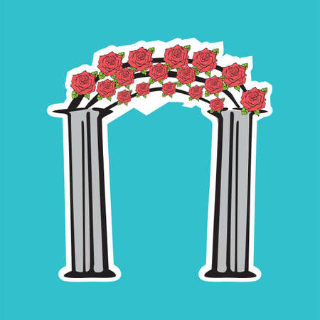 arch: floral wedding arch Illustration