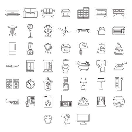 antique weight scale: set of home appliance icons Illustration