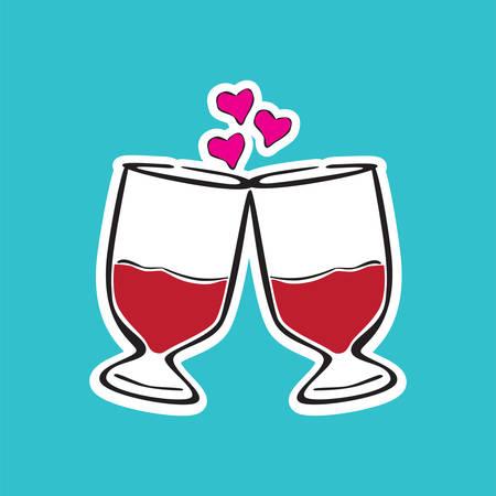 toasting wine: toasting gesture of two wine glasses Illustration