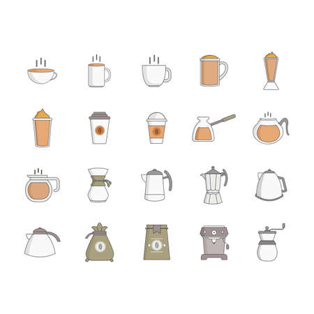 coffee sack: collection of coffee objects Illustration