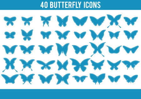 collection of butterfly icons Illustration