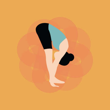 bend: woman practising yoga in standing forward bend