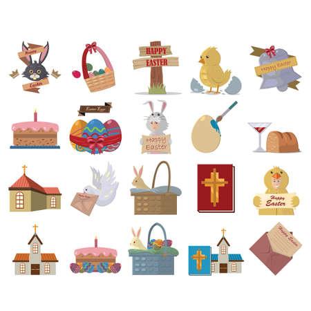 pigeon egg: set of easter icons Illustration