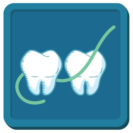 floss between teeth Illustration