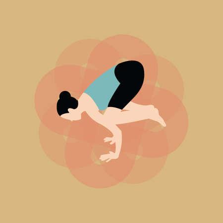 practising: woman practising yoga Illustration