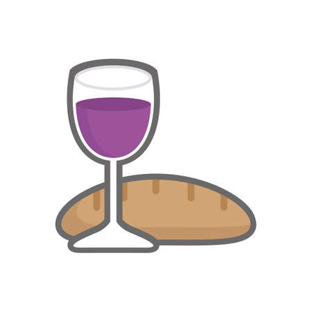bread and wine: wine glass and bread