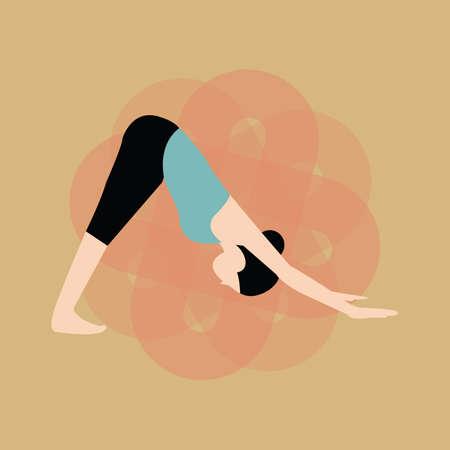 dog pose: woman practising yoga in downward-facing dog pose