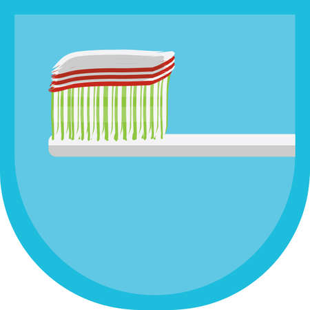 cleanliness: toothbrush with toothpaste Illustration