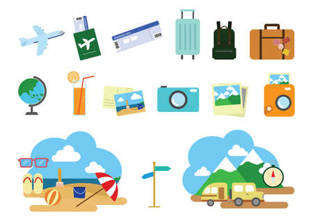 articles: collection of travel articles Illustration