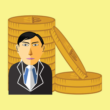 dollar coins: business man with dollar coins Illustration