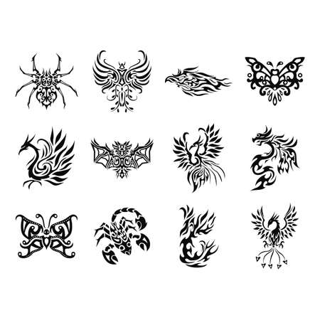 peacock butterfly: collection of tattoos Illustration