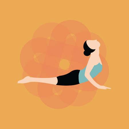 bhujangasana: woman practising yoga Illustration
