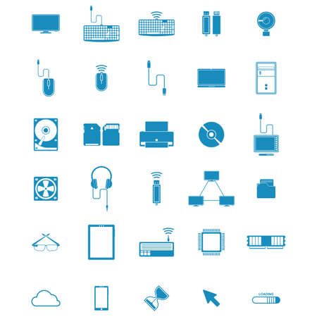 mobilephones: collection of computing items Illustration