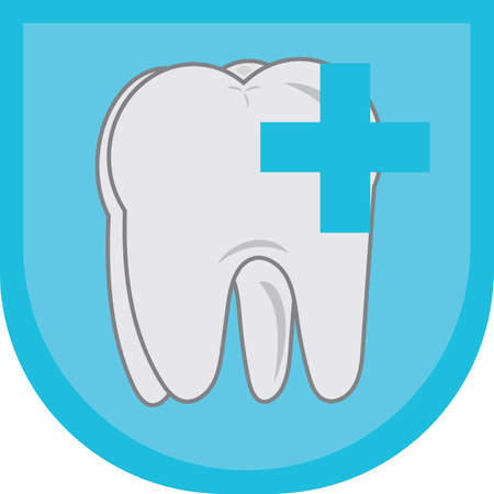 plus sign: a tooth with plus sign Illustration