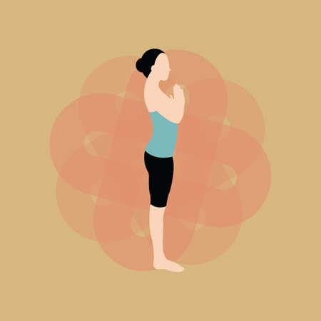 salutation: woman practising yoga in salutation pose Illustration