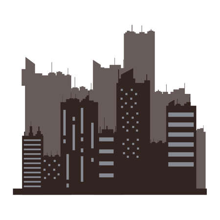 out of town: silhouette of cityscape Illustration