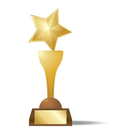 gold star: gold star trophy Illustration