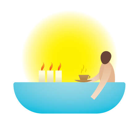 submerged: man submerged in water with candles and a tea cup