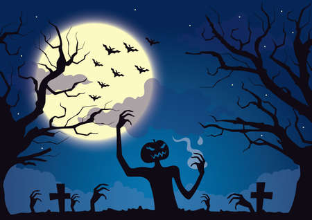 grave stone: pumpkin monster coming out of grave Illustration