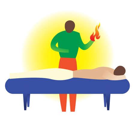therapist: therapist giving a hot massage Illustration