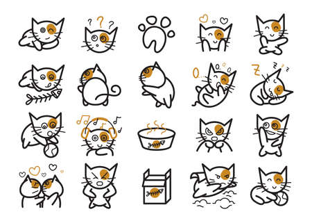 cute kitten: set of cat icons