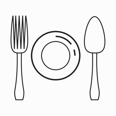 fork and spoon: fork spoon and plate Illustration