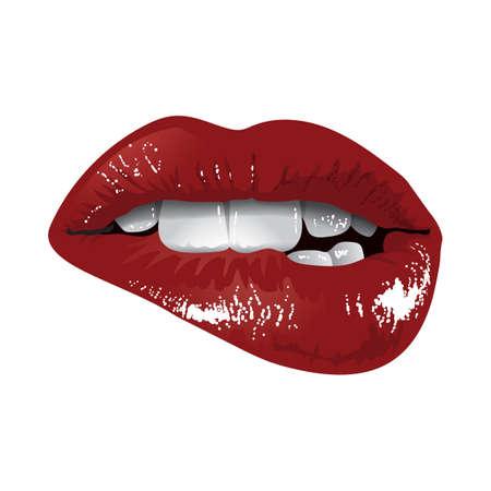woman biting lips