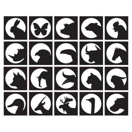 hornbill: set of animal silhouettes